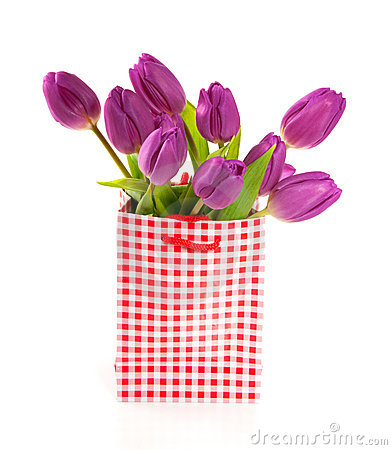 Purple tulips in a red white checkered giftbag