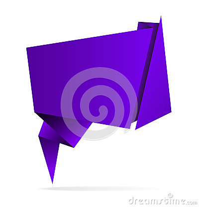 Purple vector abstract origami speech bubble, eps10
