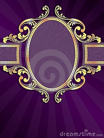 Free Purple Vertical Banner With Gold Filigree Royalty Free Stock Photo - 14033865