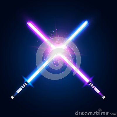 Free Purple Violet And Blue Crossed Light Neon Swords. Stock Image - 114124121