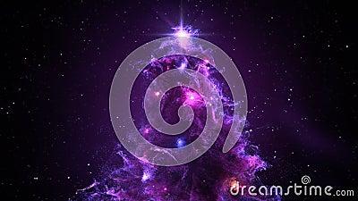 Purple Violet Nebula Christmas Fir Tree background seamless loop 4k resolution. stock footage