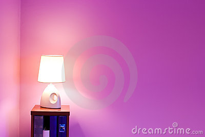 Purple wall and lamp