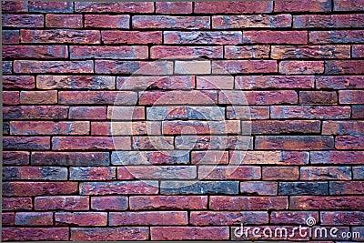 Purple wall with slim bricks