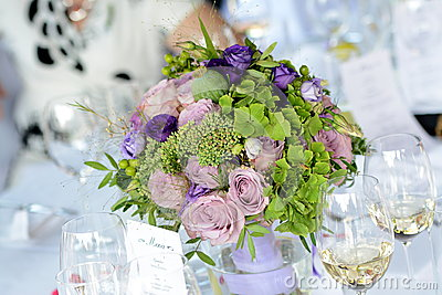 Purple wedding bouquet centerpiece