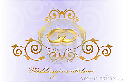 Purple wedding invitation with gold rings