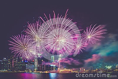 Purple And White Fireworks In The High Buildings Free Public Domain Cc0 Image