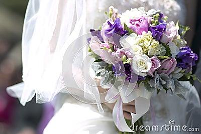 Purple white vintage wedding bouquet