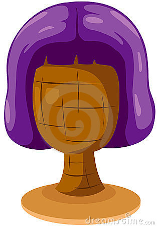 Purple wig on mannequin head