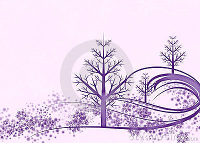 Purple Winter Scene on Pink Background