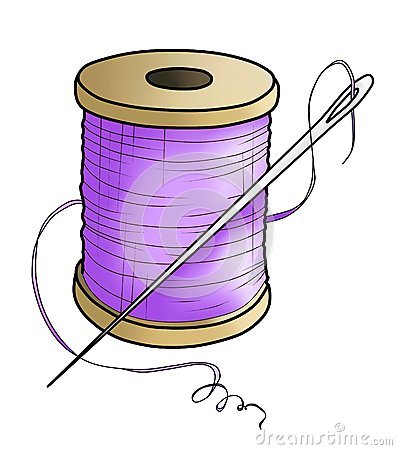 Purple yarn with a needle(color)