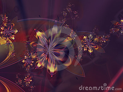 Purple Yellow Abstract Flower Fractal Background