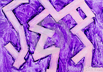 Purple zigzag wax painting