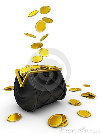 Free Purse And Falling Money Isolated Royalty Free Stock Images - 12139549