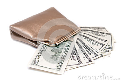 Purse and banknotes in hundred dollars