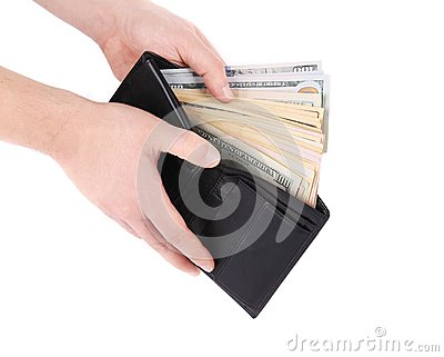 Purse with dollar bills in hands.