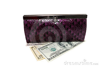 Purse with dollars