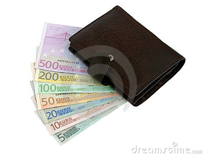 Purse and euro banknotes from five up to five hundred