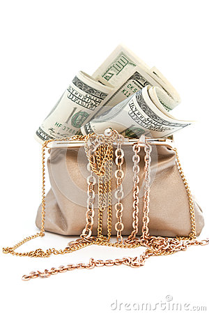Purse with gold and banknotes in hundred dollars