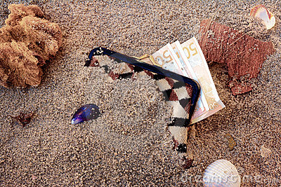 Purse lost in the sand