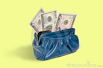 Purse with money,  dollars