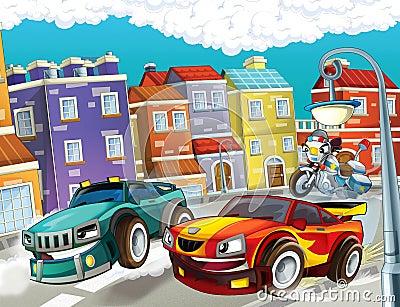 The pursuit, speeding car