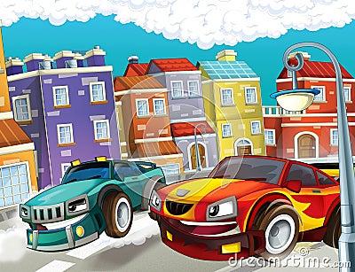 The pursuit, speeding car - illustration for the children