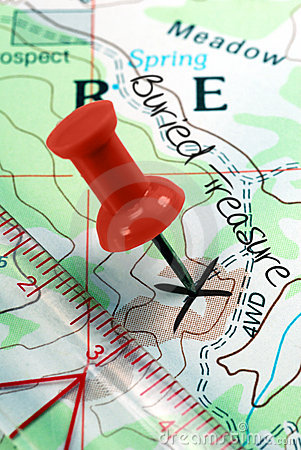 Push Pin on Topographical Treasure Map