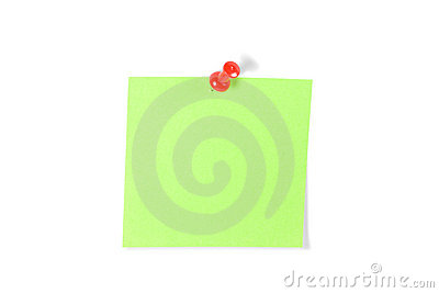 Push-pinned Post-It Note