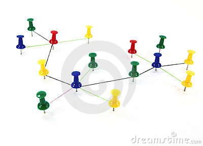 Push pins interconnected concept network Stock Photo