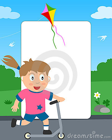 Push Scooter Girl Photo Frame