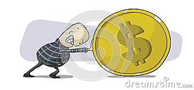 Pushing dollar coin