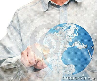 Pushing Globe Icon