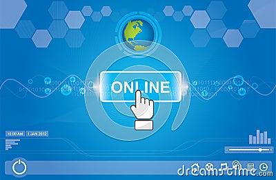 Pushing online button