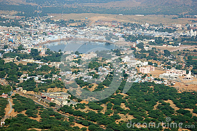 Pushkar view, famous Hindu pilgrimage town, city name means blue