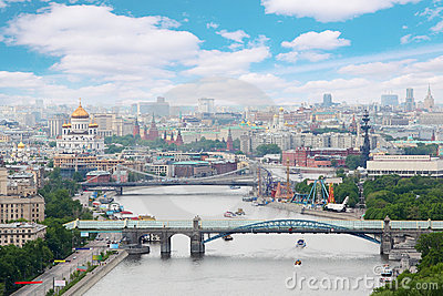 Pushkinsky and Krymsky bridges at day in Moscow