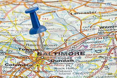 Pushpin in Baltimore Maryland USA Map