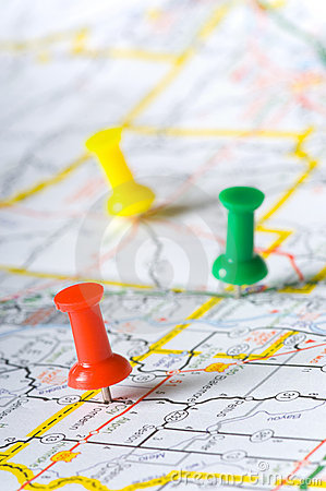 Free Pushpins On A Map Royalty Free Stock Image - 3056986