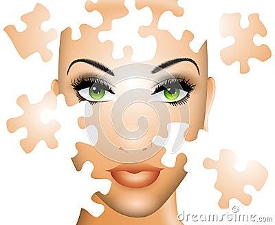 Pussel för skönhetframsidakvinnlig