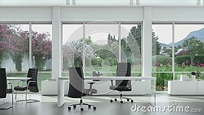 Pusty nowożytny biuro z stołami i krzesłami ogrodowymi na zewnątrz okno, Tło talerz, Chroma Kluczowy Wideo tło zbiory
