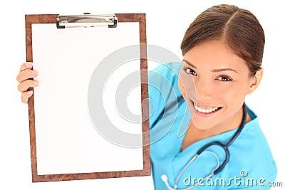 Pusty schowka lekarki pielęgniarki seans znak