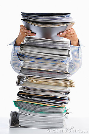 Free Put Paper Into High Pile Paperwork Stock Photography - 14021362