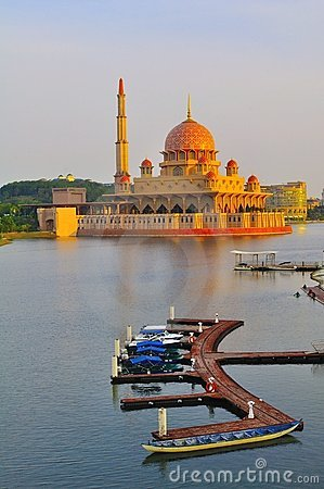 The putra mosque by the lake side Editorial Photo