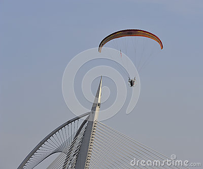 Paramotor squad flying during 5th Putrajaya International Hot Air Balloon Fiesta 2013 Editorial Photography