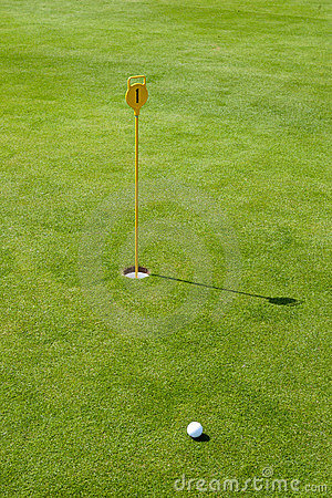 Free Putt At Golf Course With Flag And Green Royalty Free Stock Image - 16837206