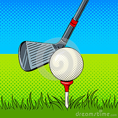 Free Putter And Golf Ball Door Pop Art Vector Royalty Free Stock Photography - 98424797
