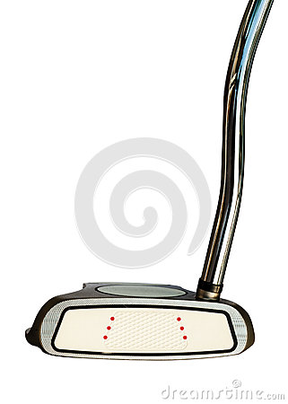 Putter de club de golf sur le fond blanc
