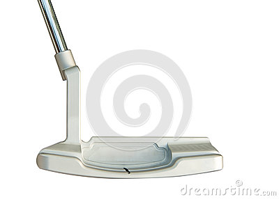 Putter del club de golf en el fondo blanco