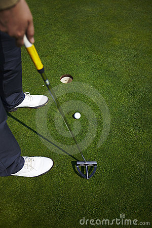 Putter with a golf ball aiming