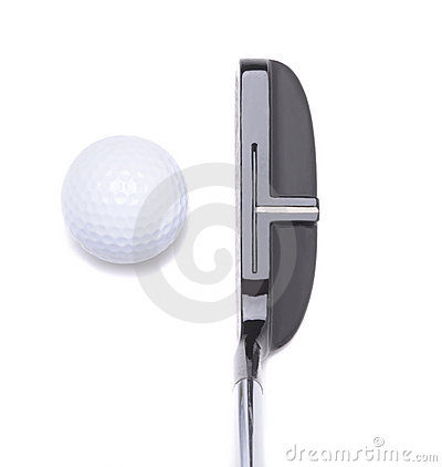 Putter and Golf Ball on White