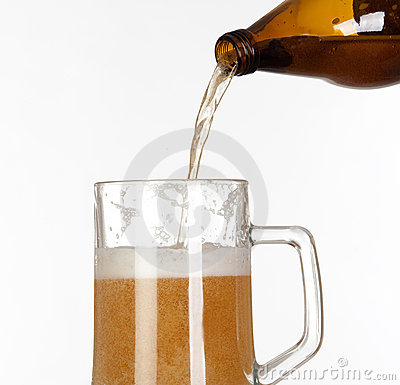 Putting beer in a glass jar